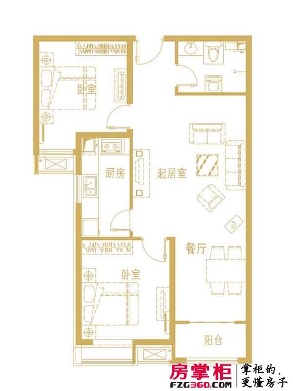 中勘广场·紫勋雍邸户型图2-1-C户型 2室2厅1卫1厨
