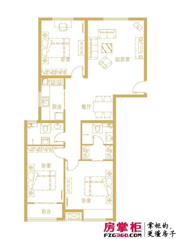 中勘广场·紫勋雍邸户型图2-1-D户型 3室2厅2卫1厨