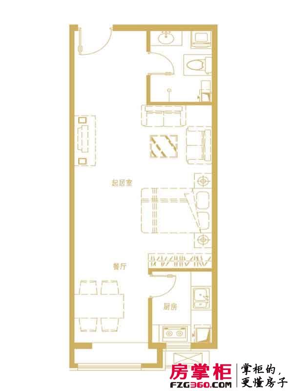 中勘广场·紫勋雍邸户型图2-1-B户型 1室1厅1卫1厨