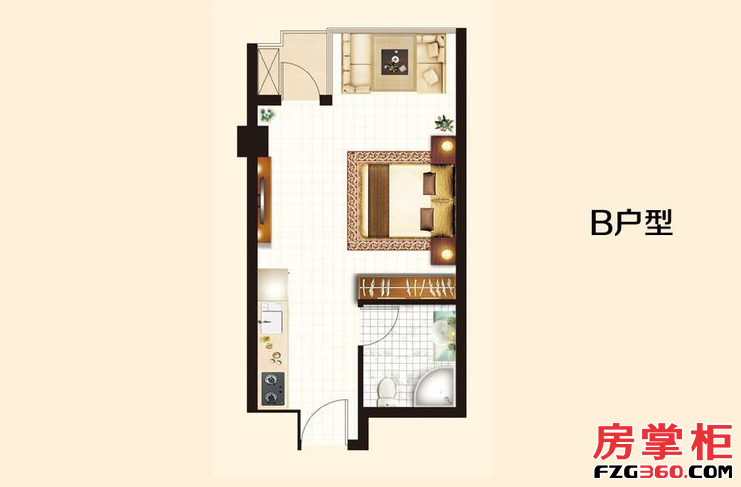 B户型 1室1厅1卫1厨 43.72㎡