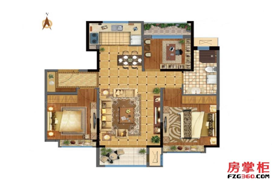 95㎡户型 3室2厅1卫1厨