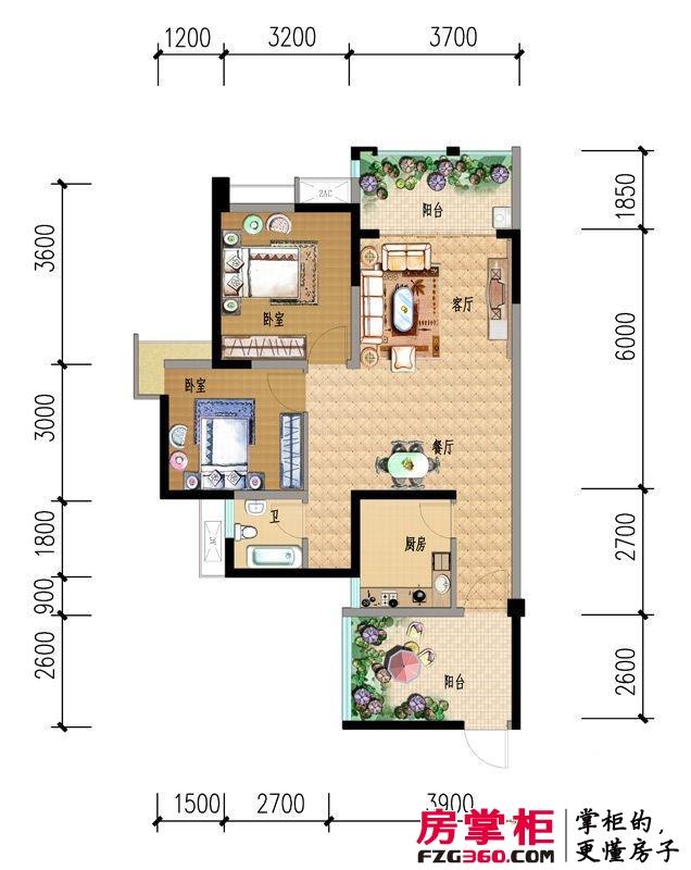香澜半岛户型图3号楼d2户型 2室2厅1卫1厨