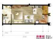 龙湖时代天街户型图4栋soho户型 1室1厅1卫1厨