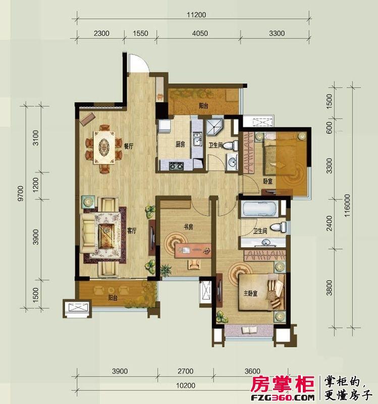 龙湖时代天街户型图一期公馆A1户型 3室2厅2卫1厨