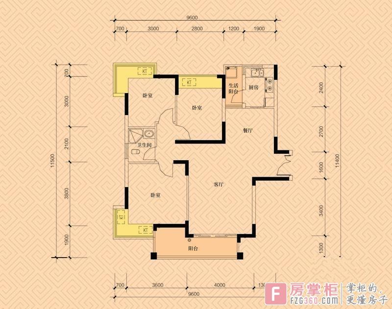 幸福里二期a户型3室2厅1卫1厨 101.54㎡.jpg
