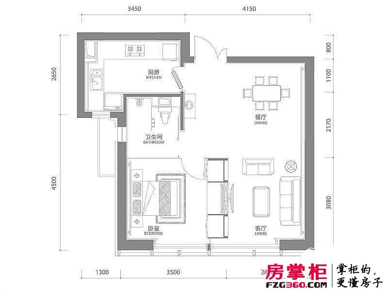 百年港湾户型图1号楼B3户型 1室2厅1卫1厨