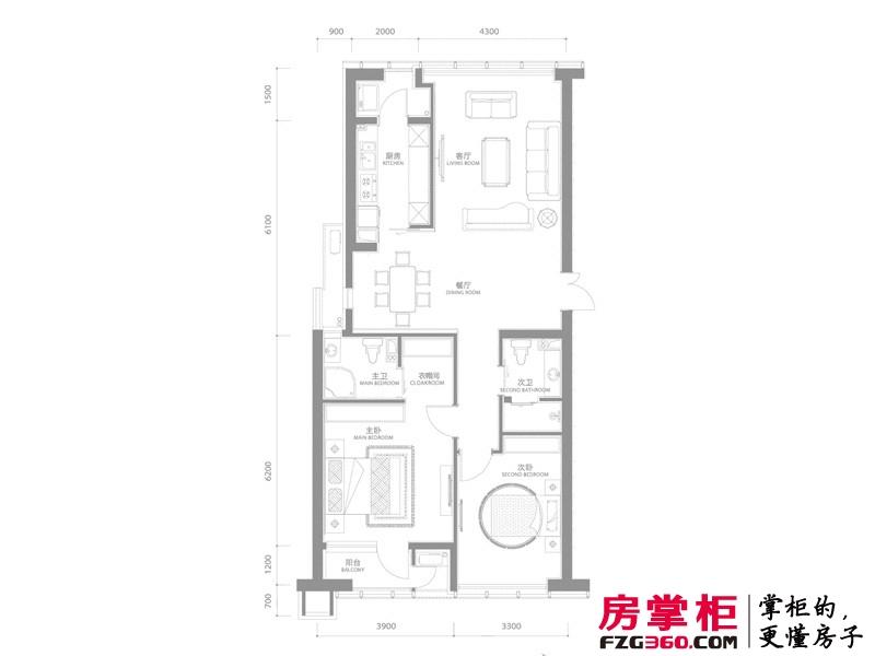 百年港湾户型图1号楼A2户型 2室2厅2卫1厨