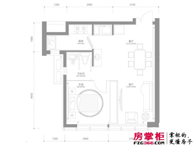 百年港湾户型图1号楼A3户型 1室2厅1卫1厨