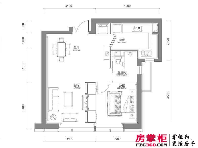 百年港湾户型图1号楼B4户型 1室2厅1卫1厨