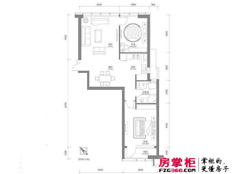 百年港湾户型图1号楼B2户型 2室2厅1卫1厨