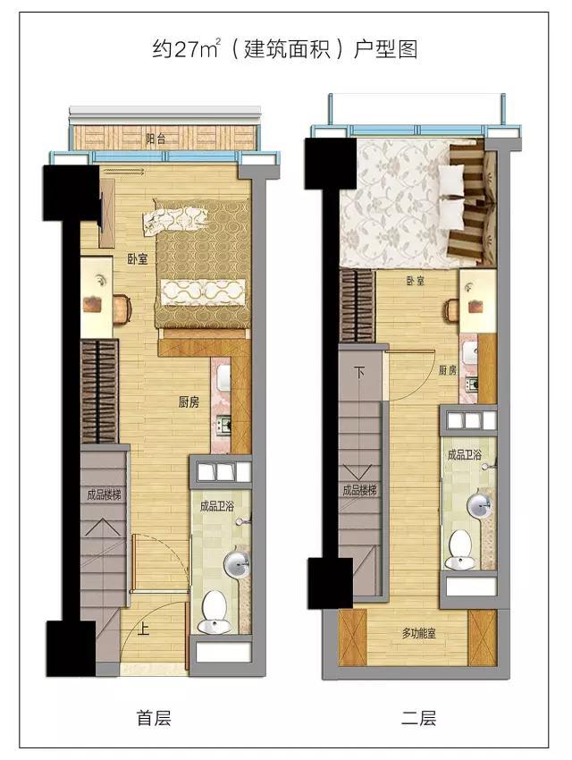 主打约27平,34平小户型公寓,通过loft设计设计成两层,和越秀绿地海玥