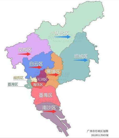 """图一:广州行政区划。划蓝线的区为不限购区域;划红线的区,是最近有""""人才购房新政""""的区。"""