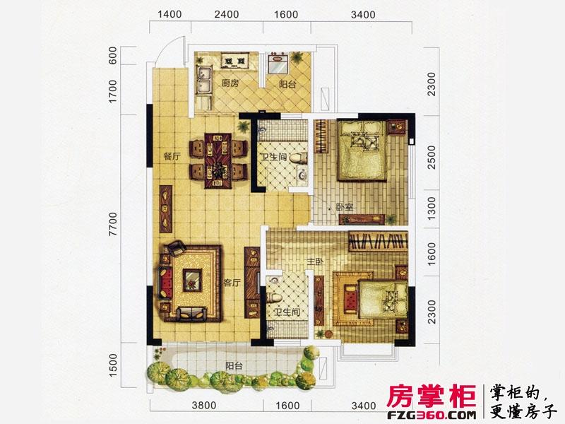 万象城益佳苑5期18栋标准层Y户型 3室2厅2卫1厨