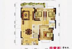 万象城益佳苑5期16栋17栋标准层B户型 3室2厅2卫1厨