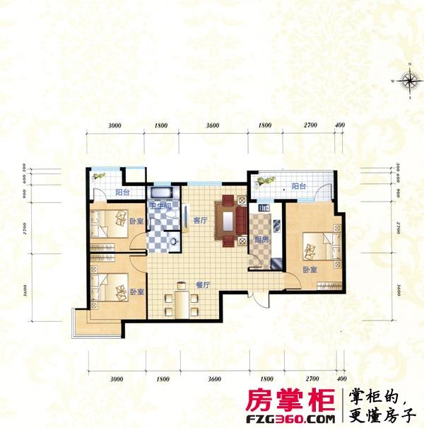 鹏程金色城市B1户型图 3室2厅1卫1厨