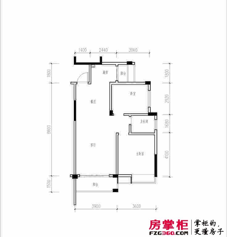 雁山新城两房户型 2室2厅1卫1厨