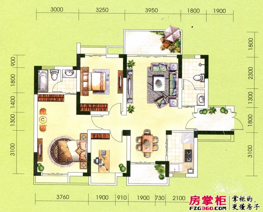 华御公馆13栋E户型 3室2厅2卫1厨