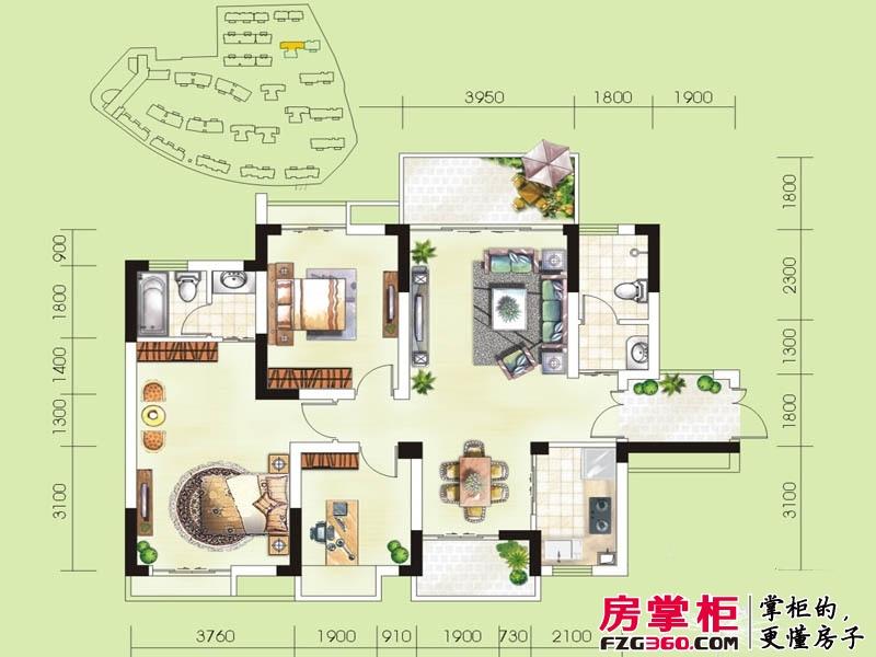 华御公馆13#E户型 3室2厅2卫1厨
