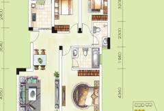 华御公馆9~10#D户型 3室2厅2卫1厨