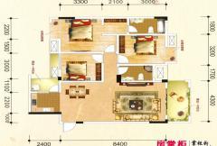 联发君澜天地12栋C1户型图 3室2厅2卫1厨