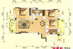 联发君澜天地7栋C1户型图 3室2厅2卫1厨