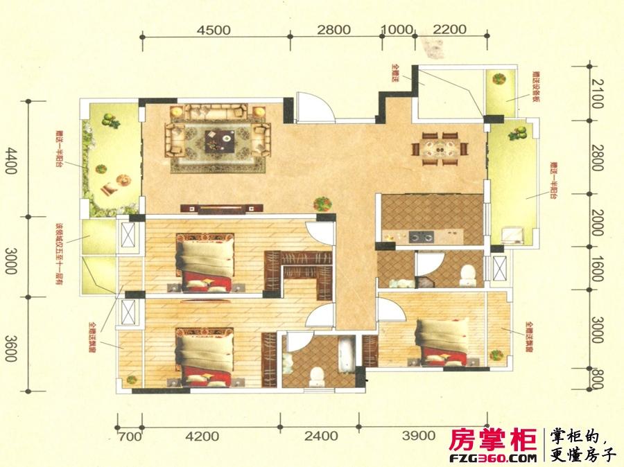 联发君澜天地7栋D1户型图 3室2厅2卫1厨