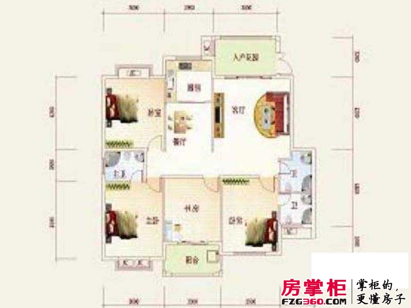 盛祥现代城17#AB户型图 4室2厅3卫1厨