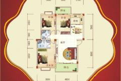 盛祥现代城25#楼B户型 3室2厅2卫1厨