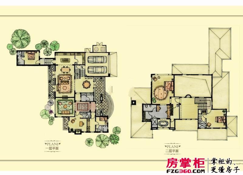 绿城桃花源户型图园景别墅户型4: 5室2厅6卫1厨