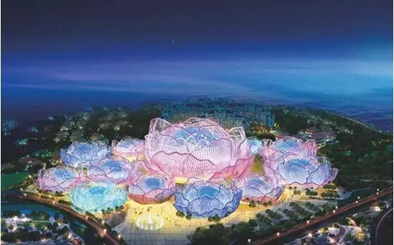 中国海南海花岛1号岛即中间形似花朵的岛屿,以恒大千亿配套为主,酒店