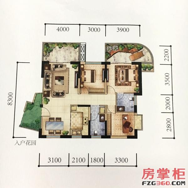 项目在售120平米三房户型