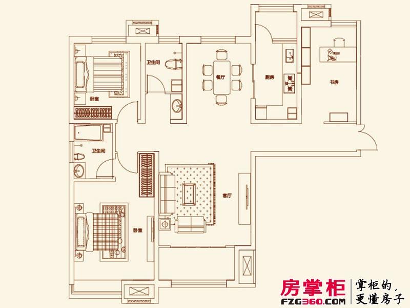 济南鲁能领秀城户型图【团购】C户型图 3室2厅2卫1厨