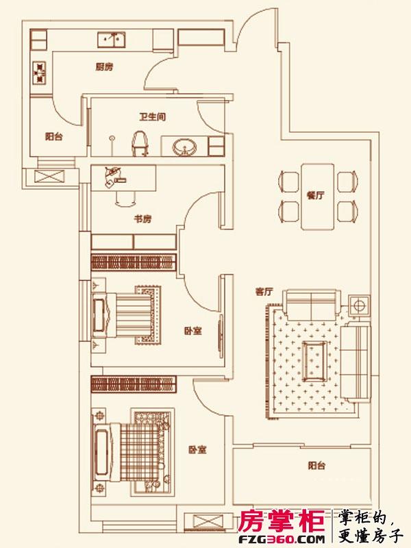 济南鲁能领秀城户型图【团购】D户型图 3室2厅1卫1厨