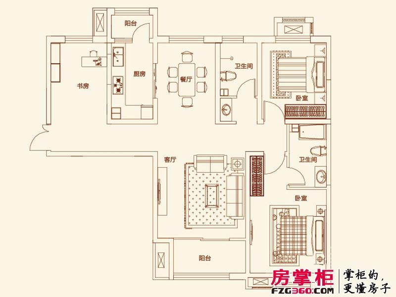 济南鲁能领秀城户型图【团购】A户型图 3室2厅2卫1厨