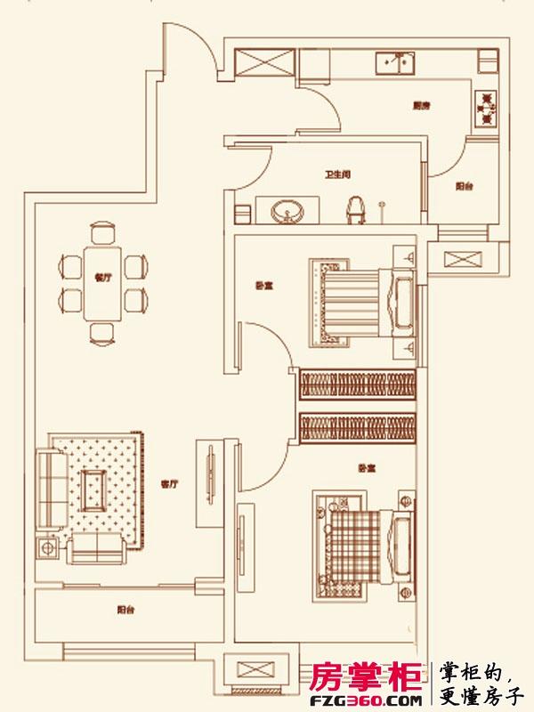 济南鲁能领秀城户型图【团购】E户型图 2室2厅1卫1厨