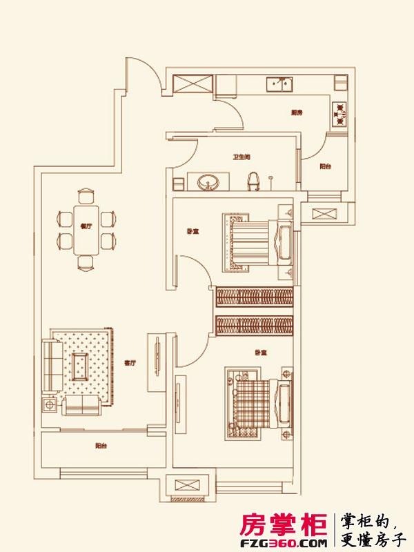 济南鲁能领秀城户型图【团购】B户型图 2室2厅1卫1厨