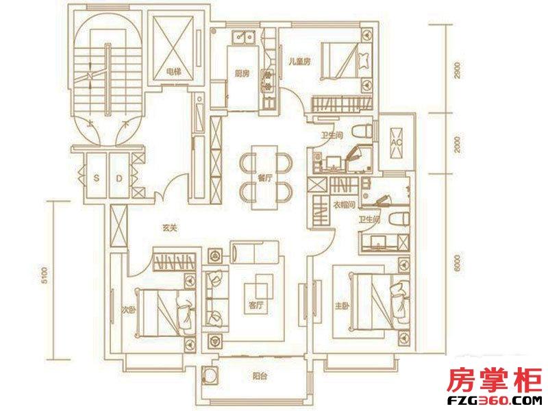 绿地IFC中央公馆127㎡户型