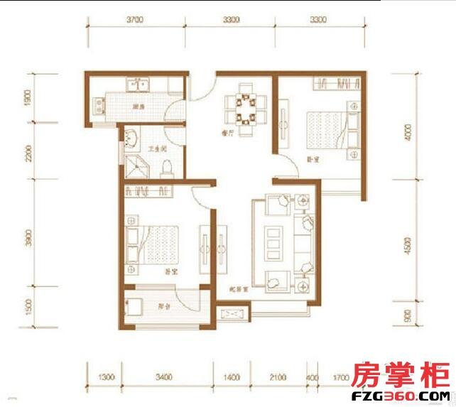 三庆御园3号楼标准层E户型
