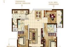 保利建业・香槟国际一期路易王妃户型 3室2厅2卫1厨