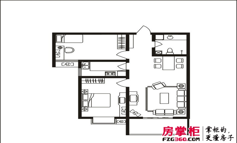 隆安东方明珠D户型 2室2厅1卫