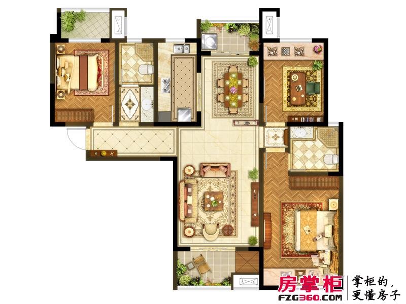 洛阳升龙又一城一期A1户型 3室2厅2卫1厨