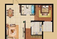 圣域蓝湾一期D1户型 2室2厅1卫1厨