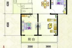 紫金风景线C2户型 2室2厅1卫1厨