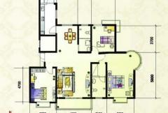 紫金风景线F户型 3室2厅2卫1厨