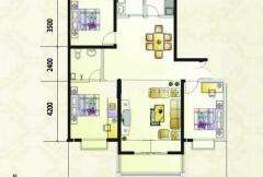 紫金风景线B6户型 3室2厅2卫1厨