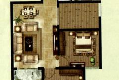 天明城一期8号楼标准层C1户型 2室2厅1卫1厨