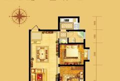 中弘卓越城1号楼、2号楼B2户型 2室2厅1卫1厨