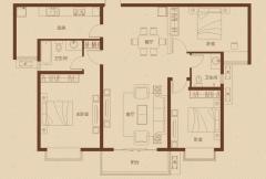大�坠�际广场一期3号楼偶数层B8户型 3室2厅2卫1厨