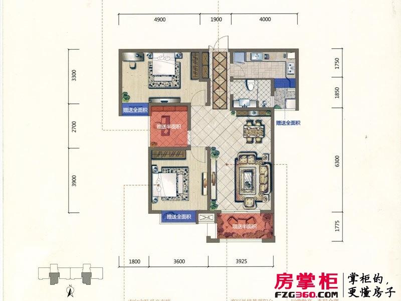 君河湾一期6#楼A3户型 2室2厅1卫1厨