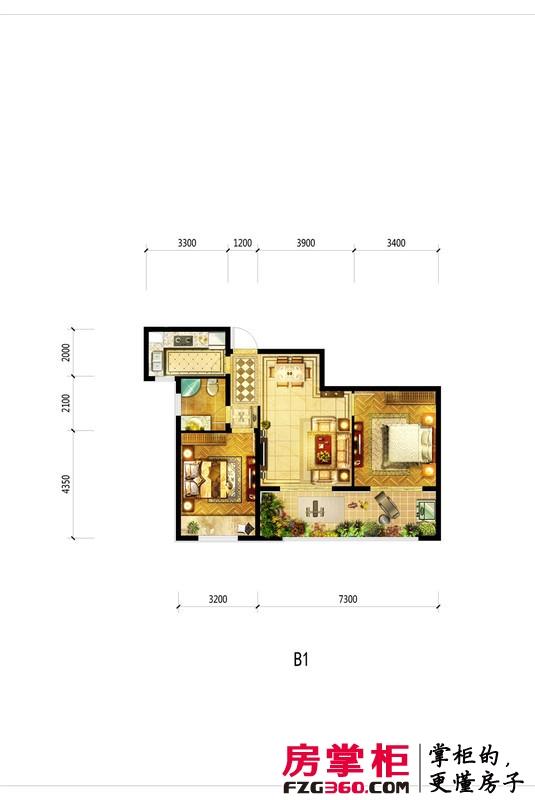 洛阳升龙城一期B1户型 2室2厅1卫1厨